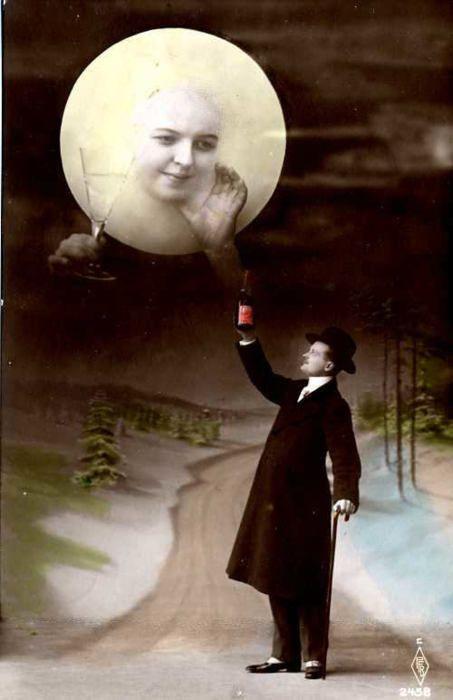 Man Toasting the Moon, 1910s