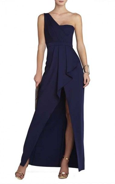 Bcbg Kristine One Shoulder Peplum Gown Navy
