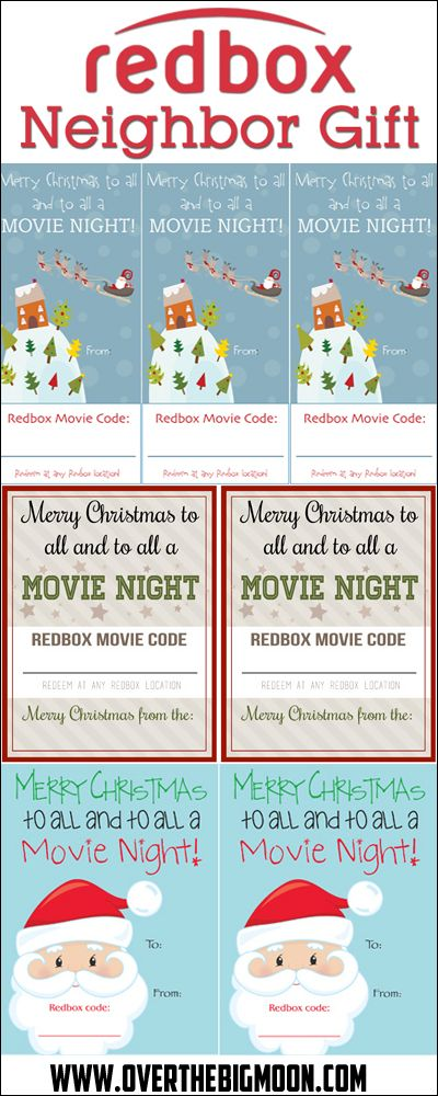 Redbox Neighbor Gift Idea - Just print the tag, write the Redbox code on it and attached it to a bag of popcorn! 3 printable versions to choose from!  #redbox