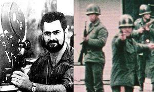 """Leonardo Henricksen, el camarografo argentino que filmó a sus asesinos en el momento en que le dieron muerte en Santiago de Chile, frente al Banco Central, durante el """"Tanquetazo"""" del 29 de junio de 1973."""