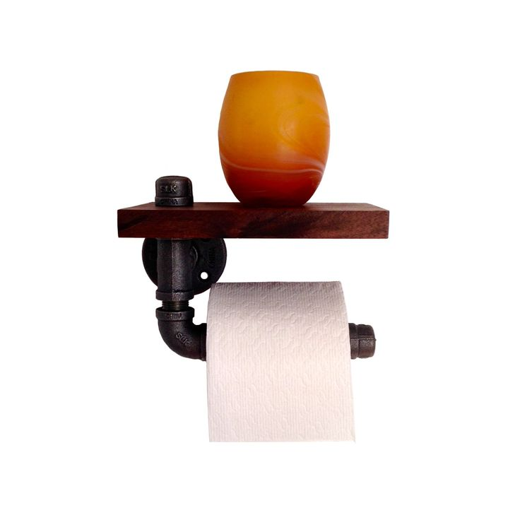Toilet Paper Holder - made of reclaimed black walnut wood and a black steel pipe.