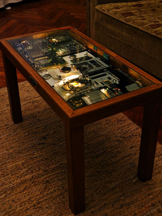 Cyberpunk coffee table by everwoodstudio on etsy for Steampunk furniture diy