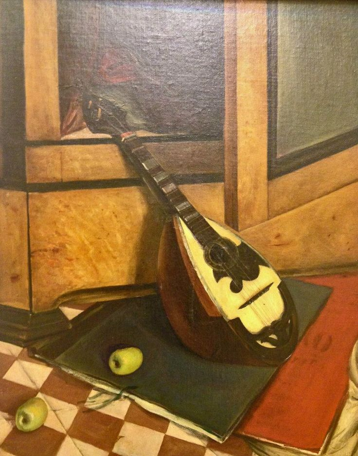 "Yannis Moralis ""Composition with mandolin, books and apples"" — at A. G. Leventis Gallery. Nicosia"