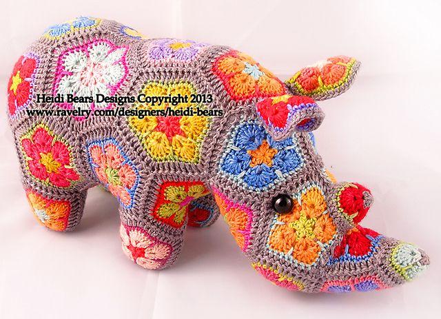 Thandi the African Flower Rhino crochet pattern: http://www.ravelry.com/patterns/library/thandi-the-african-flower-rhino-crochet-pattern by Heidi Bears designs