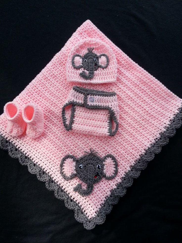 Crochet Baby Elephant set.
