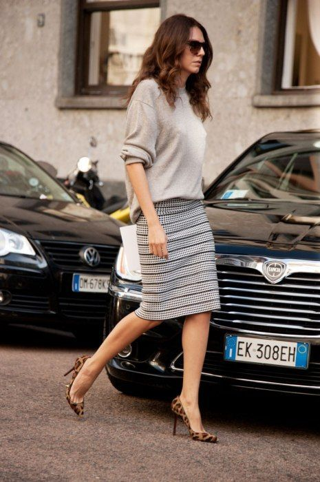 @roressclothes closet ideas #women fashion outfit #clothing style apparel Oversized Sweater and Striped Skirt
