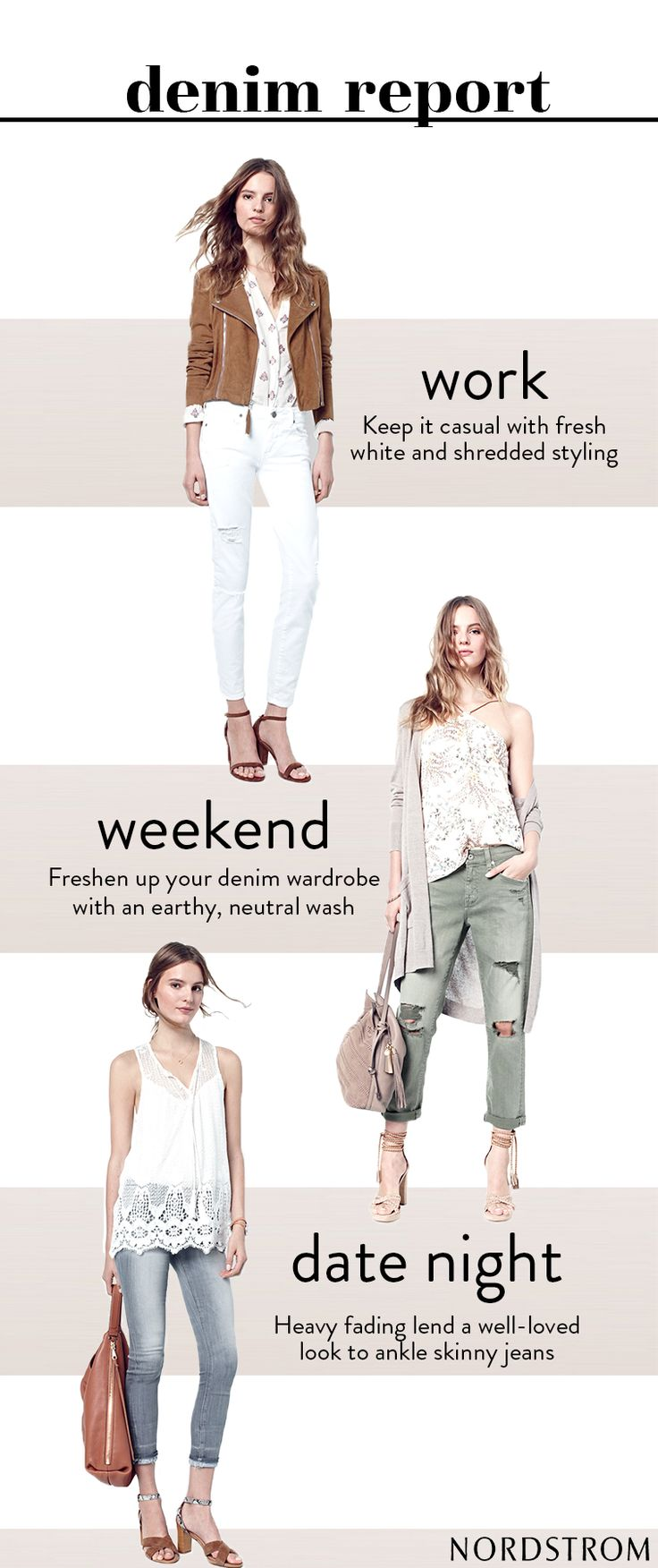 Jeans are a staple in anyone's wardrobe. Leave it to Nordstrom to be your one stop denim shop for any occasion. Here's a guide on how to wear the newest Spring arrivals 3 different ways. Find the latest cuts, colors and details at Nordstrom today.