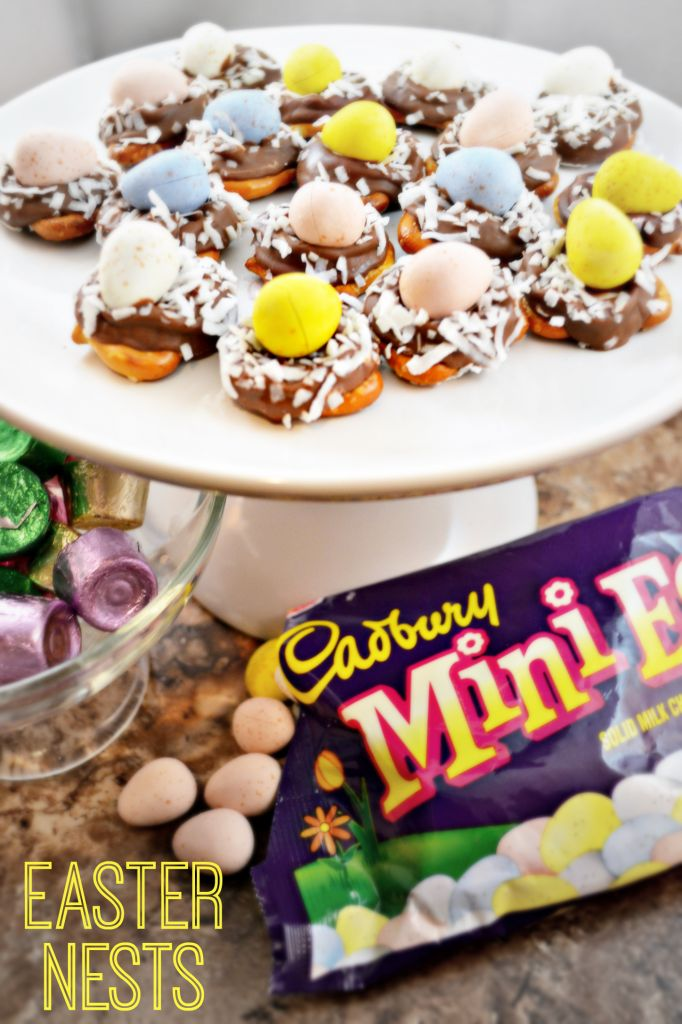 Adorable Easter Nests Treat!! Only 4 Ingredients ~ Pretzels, Rolo Chocolates, Coconut and Cadbury Mini Eggs!!