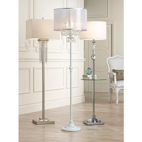 Ciara Draped Antique White Crystal Chandelier Floor Lamp