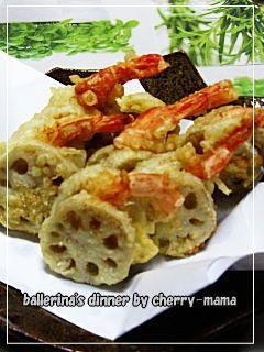 """Tempura of Shrimp & Lotus Root sandwiches"" - japanese recipe/海老のれんこんはさみ天"