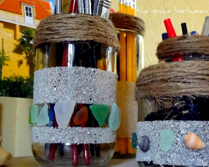 12Apr twine sand sea glass jars: Recycled Jars Crafts, Sands Sea, Twine Sands, Bottle Decor, Glasses Jars, Mason Jars, Jars Upgrade, Glass Jars, Sea Glasses