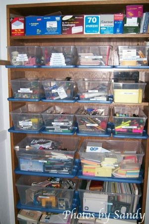 organizing office closet | Baskets to organize office supplies - Organize With Sandy : Organize ...