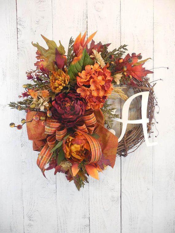 Fall initial wreath, Elegant Fall wreaths, Fall floral, Monogram, Red and orange, Fall door decor, Harvest decor, Autumn, Wreaths FALL