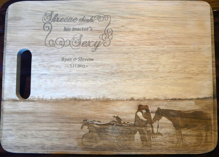 Beautiful personalized custom-engraved cutting board with a photo. This was a wedding present.