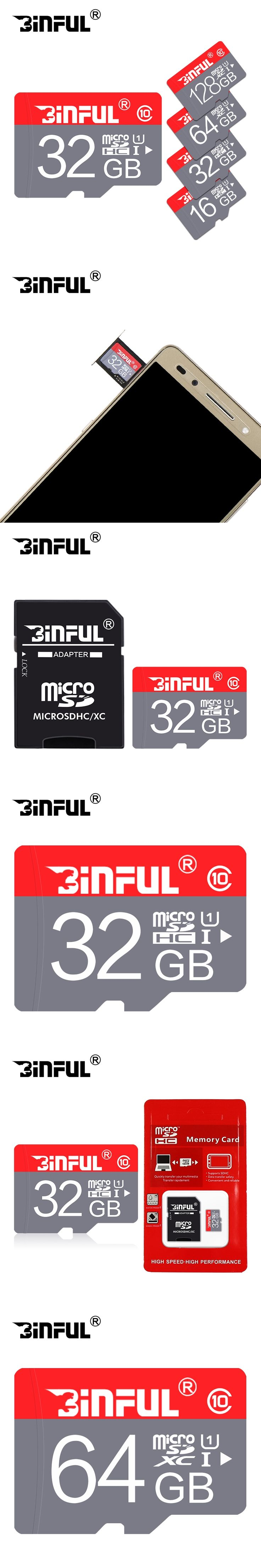 BiNFUL new fashion memory card 32GB 64GB micro sd card 8GB 4GB mini red TF Card memory stick for Mobile Phone free gift adapter