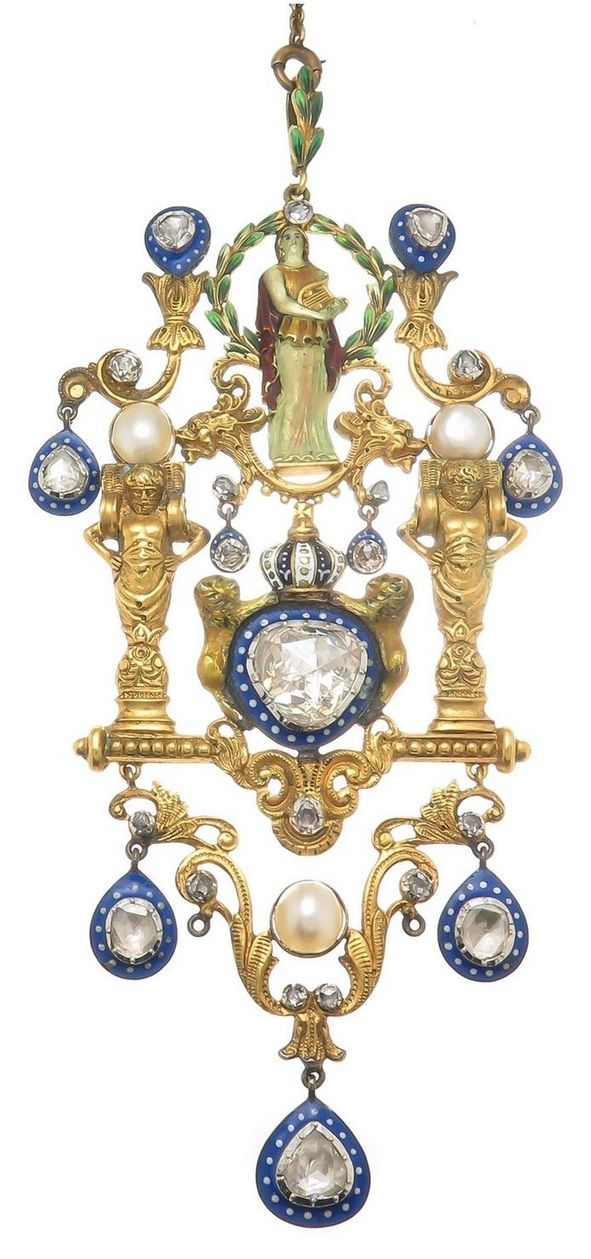 A Victorian Renaissance Revival pendant, circa 1890. The 15 to 18k gold pendant with finely detailed engraving and enamel work set with rose-cut diamonds and pearls, mounted in silver. Measurements: 4 5/8 x 2 1/8 inches. #Victorian #RenaissanceRevival #pendant