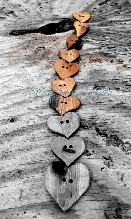 Handmade wooden heart buttons.