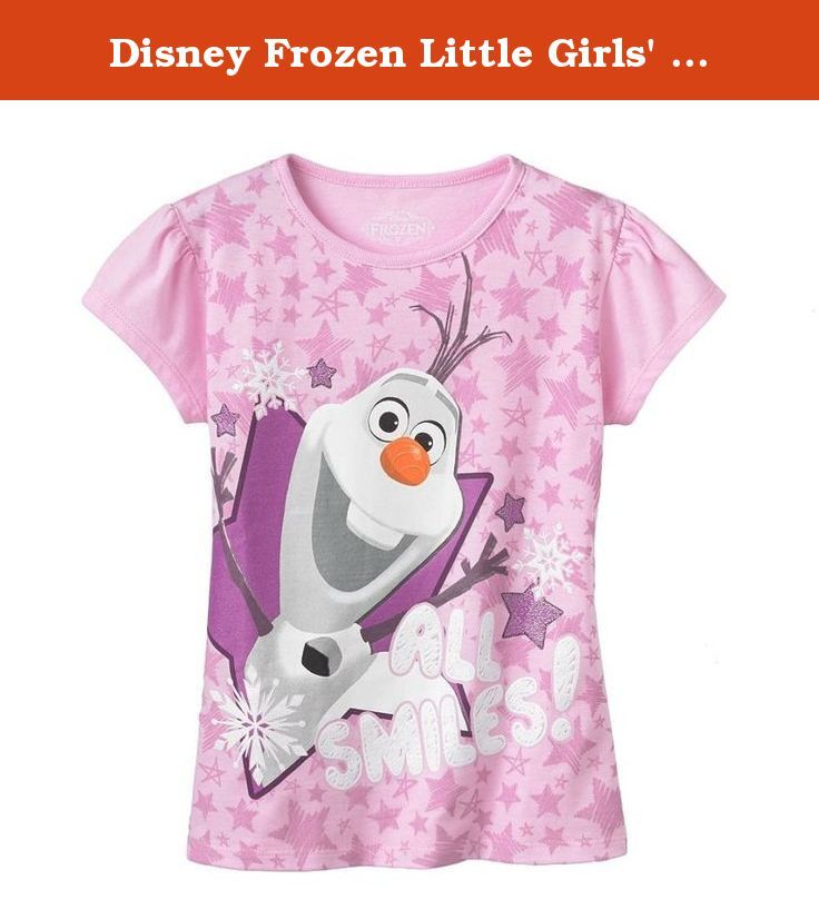 "Disney Frozen Little Girls' Olaf ""All Smiles"" tee (3T). Girls tee features the beloved Olaf character from the Disney Frozen movie. 50/50 cotton-poly blend. Machine washable. Imported."