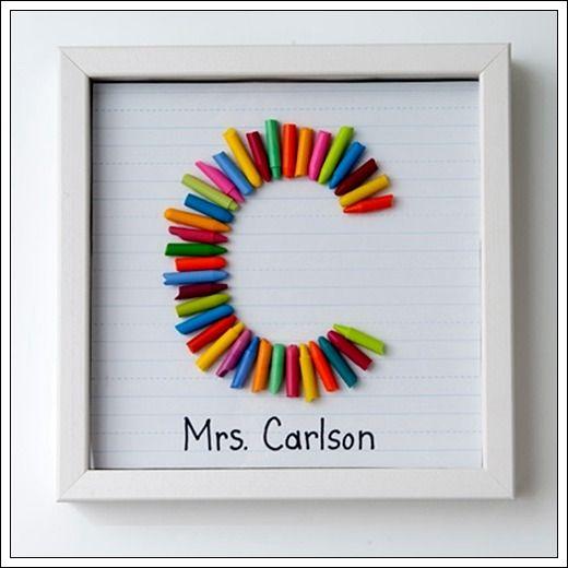 Proyecto para realizar un cuadro con lápices de colores (en este caso de ceras). Podemos utilizar este cuadro para colgar en el cuarto de un niño o para regalárselo a una maestra. Original a la par qu