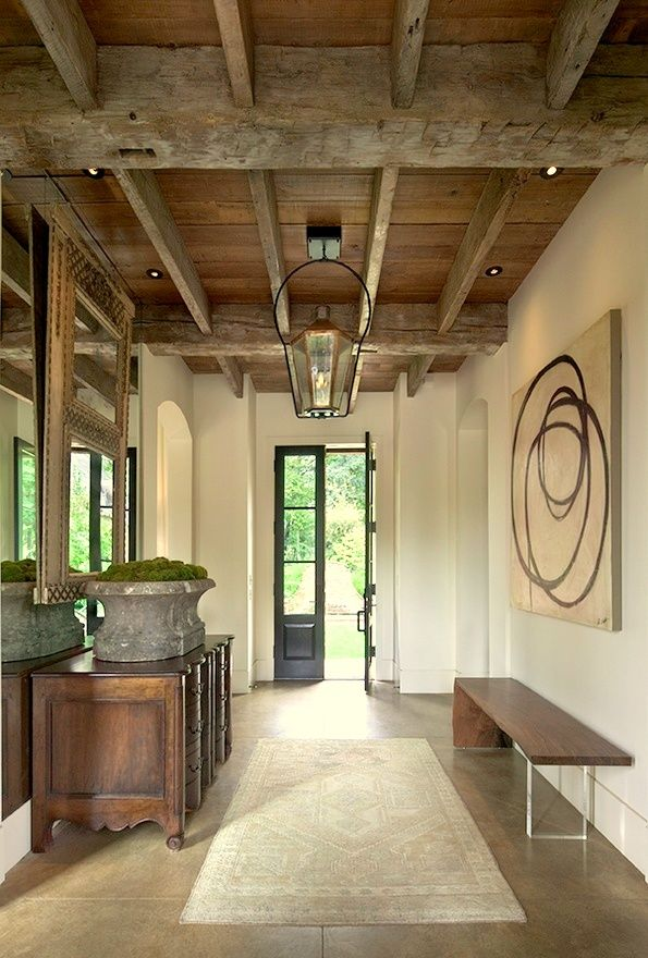 Gwen driscoll designs dream space rustic modern clean for Foyer ceiling design