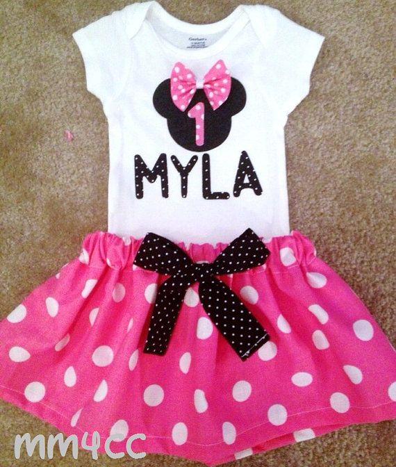 Minnie Mouse outfit Dress first Birthday Party Pink Skirt onesie Disney baby Girl Personalized Size Newborn 3 6 9 12 18 24 m 3T 4T 5 toddler on Etsy, $34.50