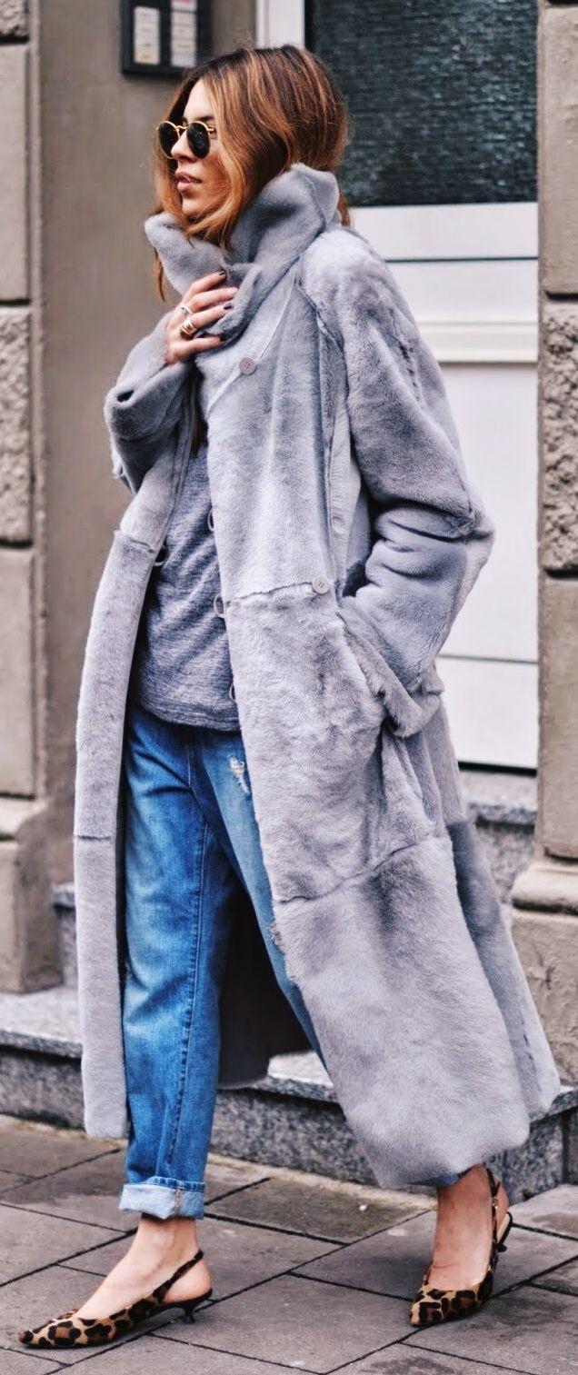 Grey Oversize Faux Fur Coat