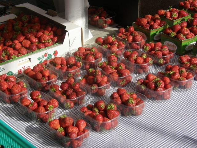 Strawberries in Savonlinna market place.