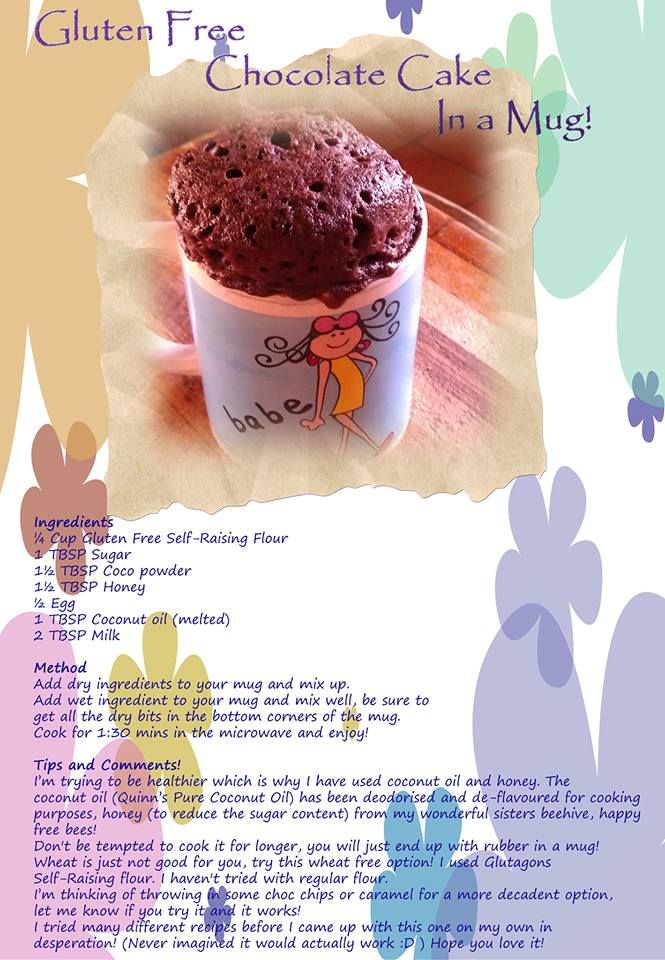 Gluten Free Chocolate Cake in a Mug!  www.facebook.com/BeautifulFusionSA