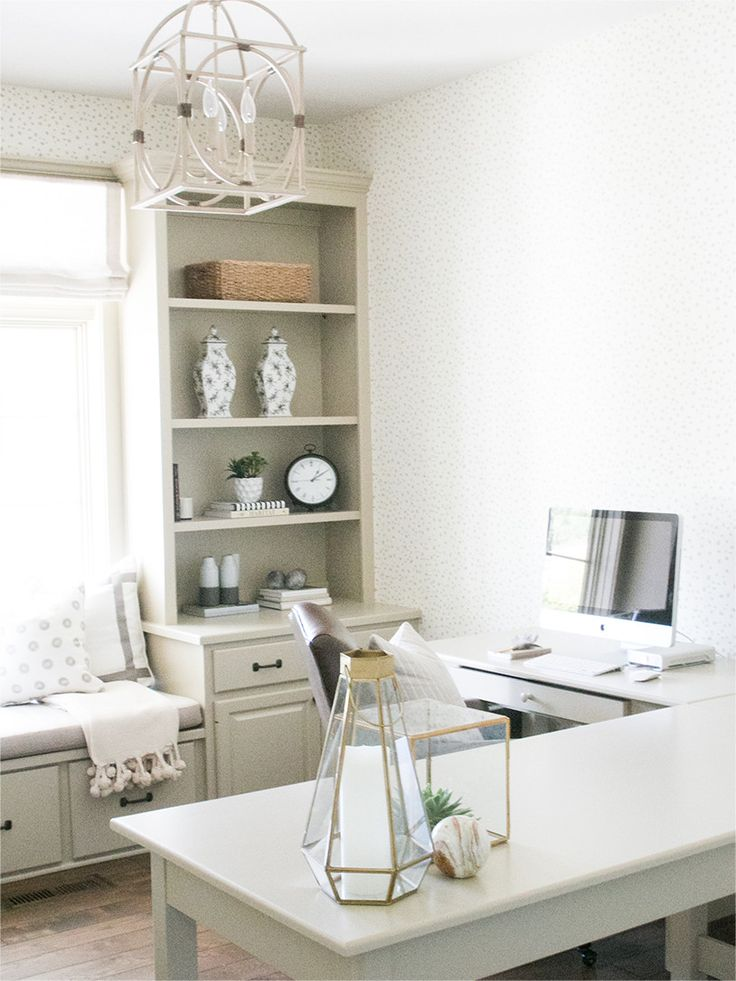 cozy office design with l shaped desk and window seat bria hammel interiors - Home Desk Design