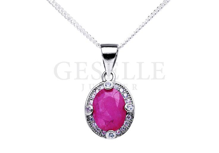 Niezwykły komplet srebrnej biżuterii - zawieszka i kolczyki z rubinami i cyrkoniami