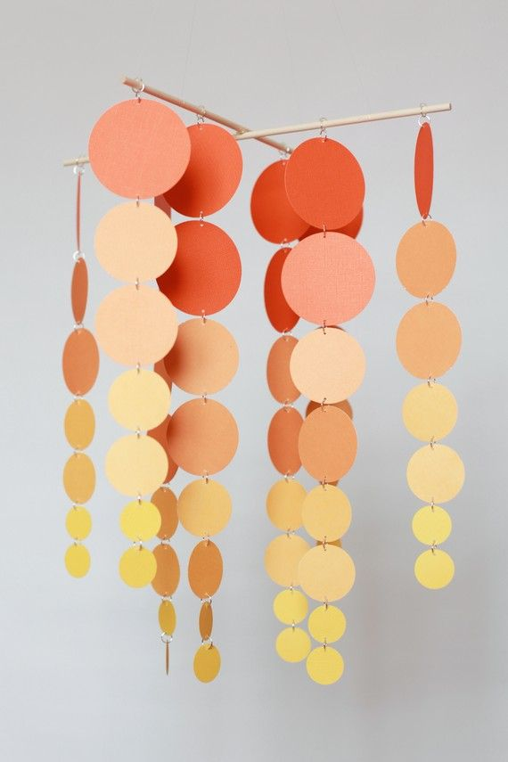 Sunrise/Sunset nursery mobile or party decor: Baby Mobiles, Sunsets Baby, Boys Rooms, Mobiles Idea, Baby Boys, Orange Accessories, Tangerin Sunsets, Paintings Samples, Paintings Chips