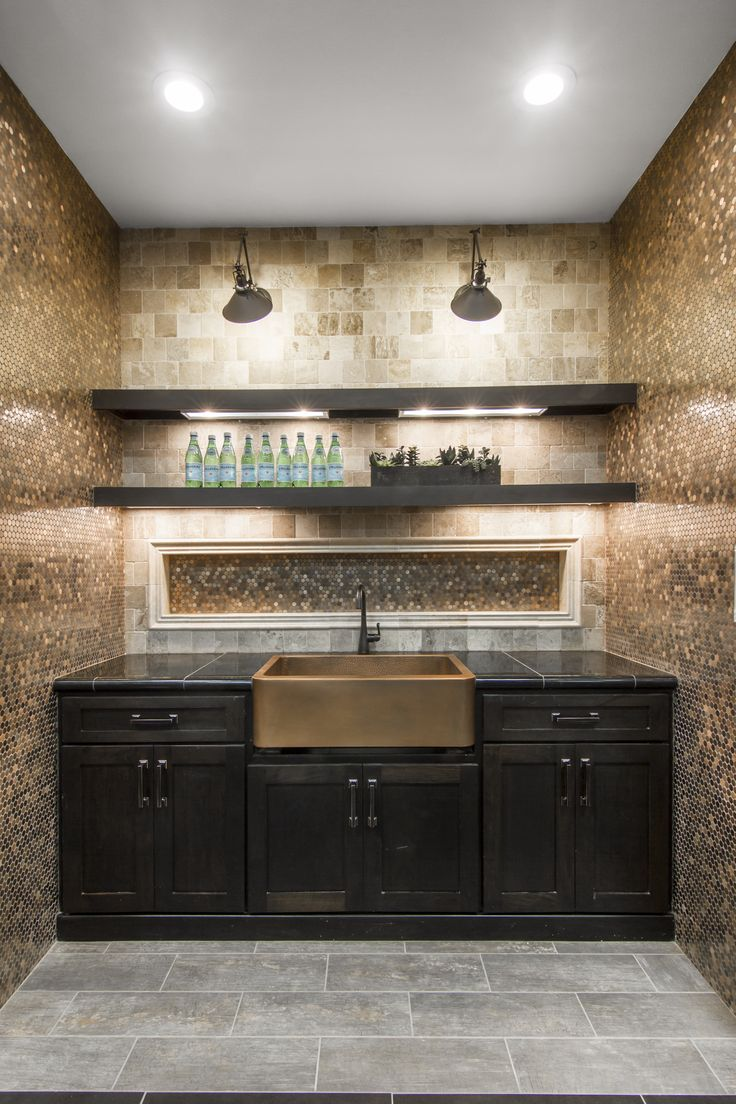 Copper Penny Round Mosaic Tile Backsplash And A Copper Farm Sink Make One Stand Out Kitchen Or