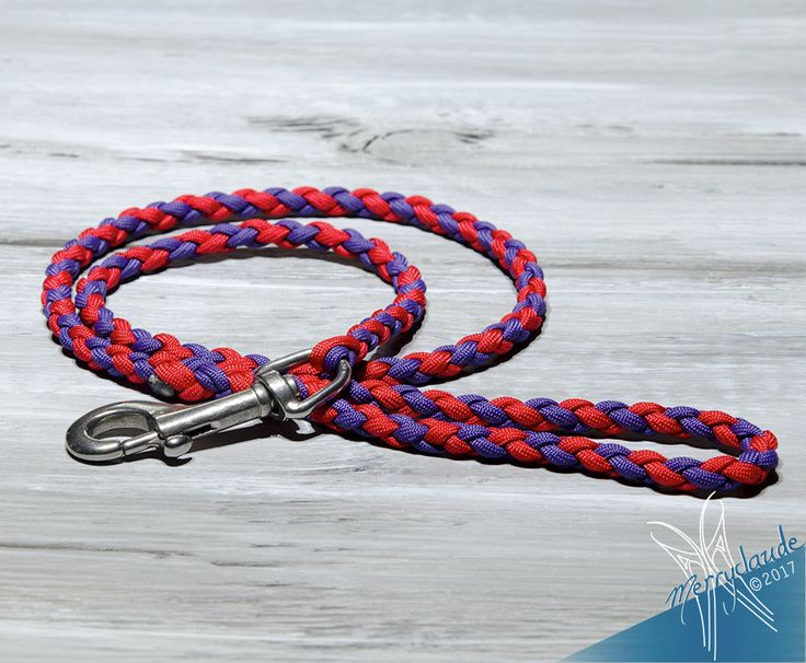 3.5 feet - Training leash - Standard Paracord Dog leash - 4 strands - Stainless steel - Heavy Duty - Imperial Red and Purple