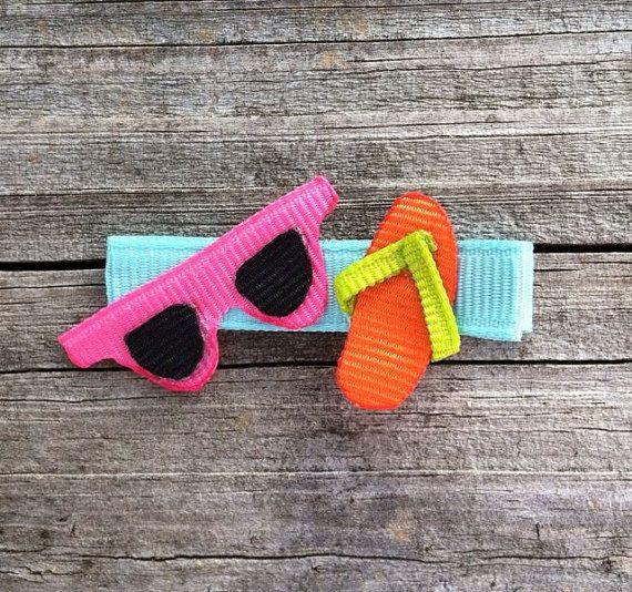 Girls Hair Clips, Sunglasses and Flip Flop Hair Clip, Summer Hair Clip, Beach…