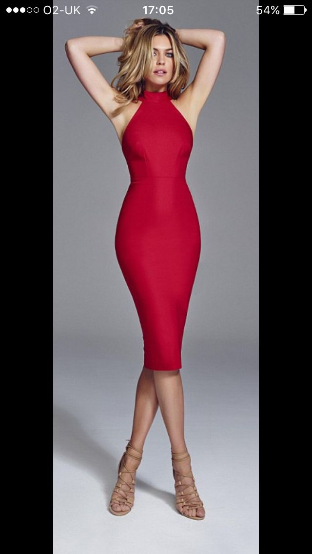 Abbey Clancy for Matalan, red body con pencil dress