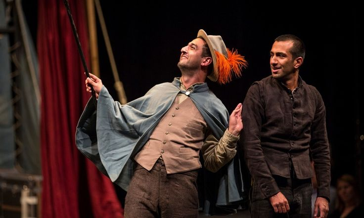 Shakespeare's Globe goes around the world with Hamlet – Beruce Khan as Osric and Naeem Hayat as Hamlet at the Chicago Shakespeare theatre on 28 July 2014.