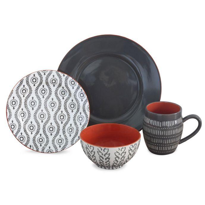 Baum Tangiers 16 Piece Dinnerware Set In Grey Bed Bath Beyond Dinnerware Sets Grey Dinnerware Stoneware Dinnerware Sets