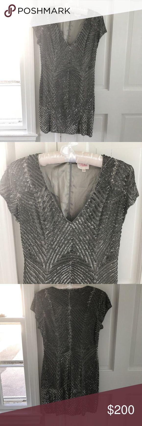 Sequin Parker dress Silver Parker dress, great condition. Parker Dresses Mini