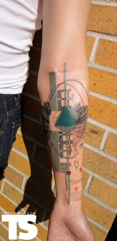 "Awesome modern architectural style tattoo. Hadn't thought of getting a ""modern"" tat..."