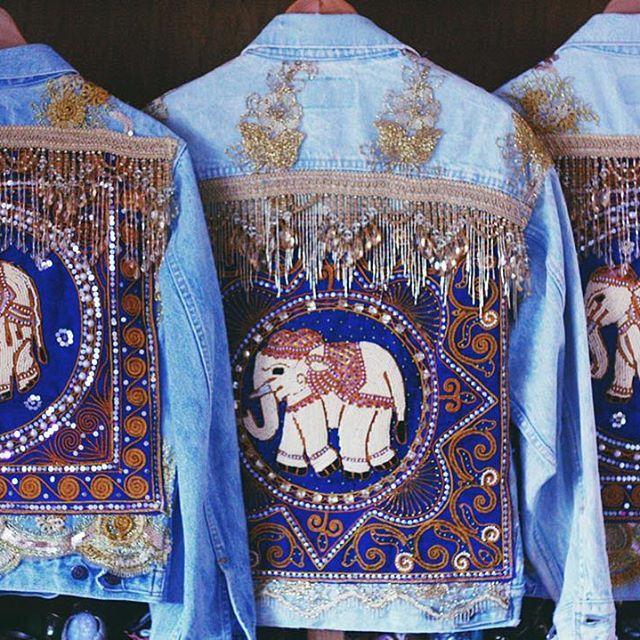 #wildandfreejewelry  elephant boho denim jacket with fringe