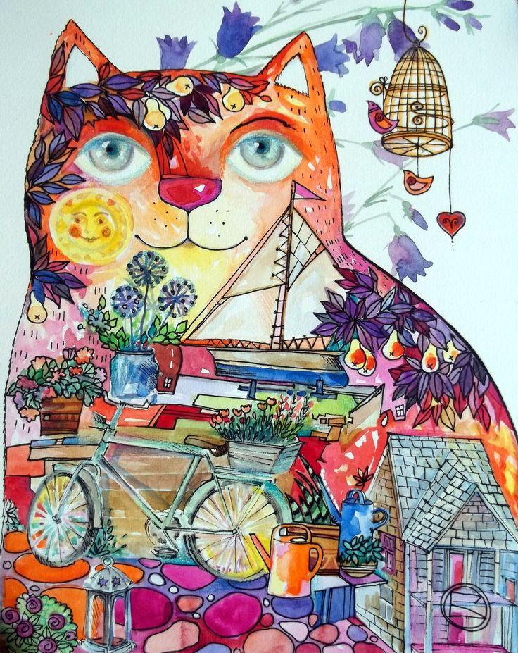 Summer cat 2 by oxana zaika | ArtWanted.com