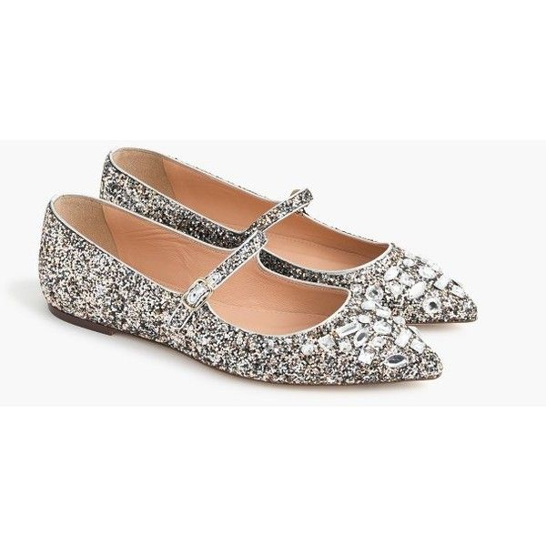 J.Crew Glitter Mary Jane Flats With Embellishments ($260) ❤ liked on Polyvore featuring shoes, flats, glitter shoes, mary jane shoes, glitter mary jane shoes, j crew shoes and mary jane flats