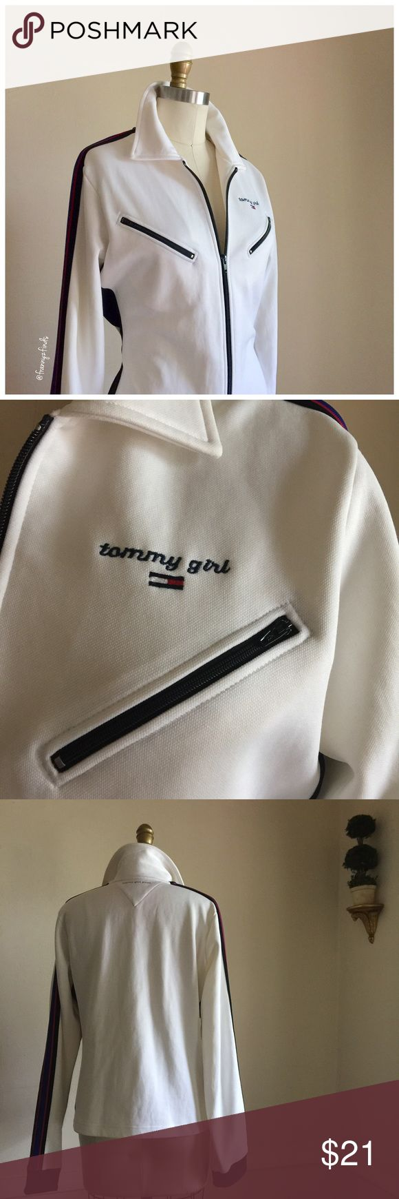 """• tommy girl cream jacket • branding galore • 2 chest pockets • classic Hilfiger colours • sleeve stripe detail • stripe pulled away 2"""" inches on lower sleeve • reduced accordingly • more details to follow Tommy Hilfiger Jackets & Coats"""