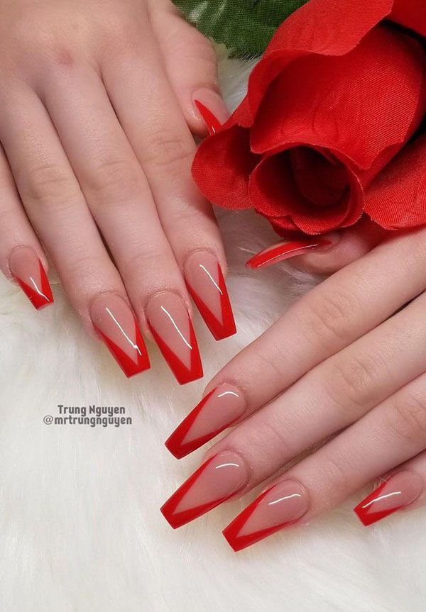 52 Luxury Coffin French Tip Nail Designs Red Tip Nails French Tip Nail Designs Red Acrylic Nails