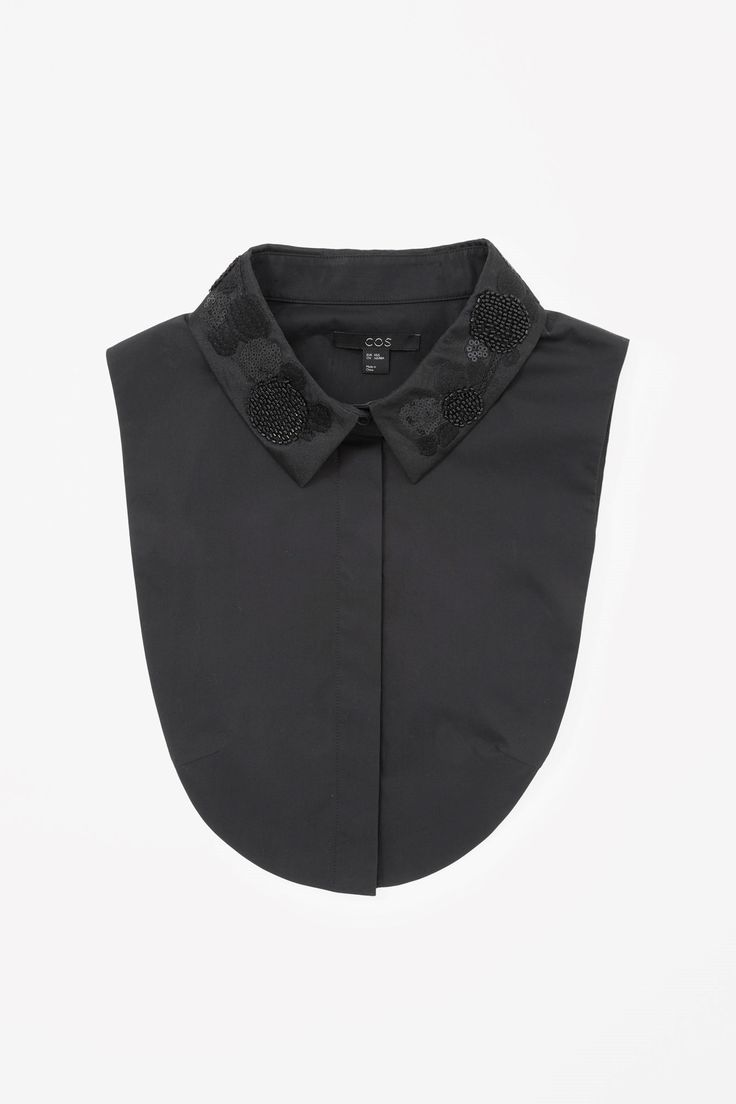 COS image 3 of Embroidered mock shirt in Black