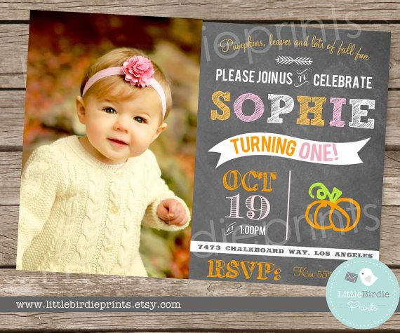 Items similar to PUMPKIN INVITATION First Birthday Party - TRUCK for BoY - Printable Invite - Harvest Truck Autumn Fall Birthday Party Printable with photo on Etsy