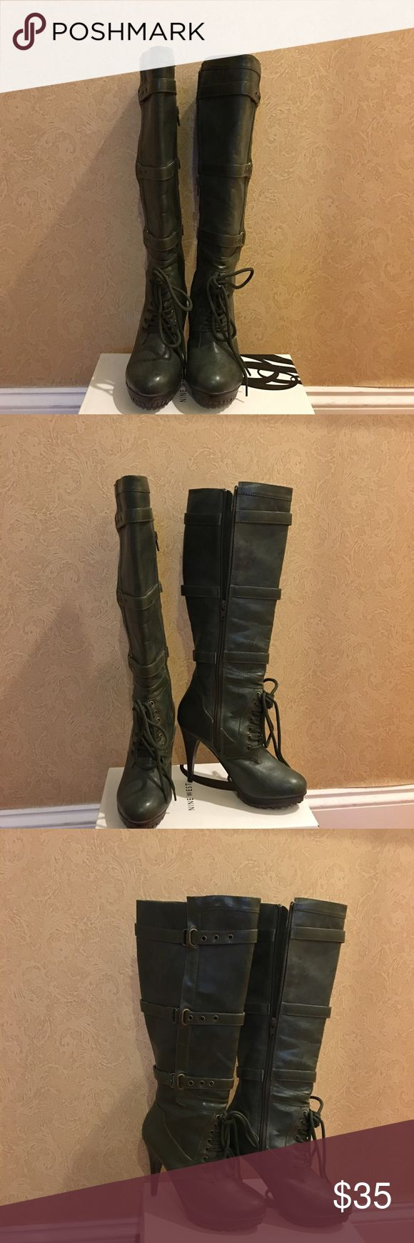 Knee High Boots Wear these high-heeled, green khaki boots and look great in any weather! The tread on the sole makes it a practical yet fashionable choice, even in the snow. promiscuous Shoes Heeled Boots