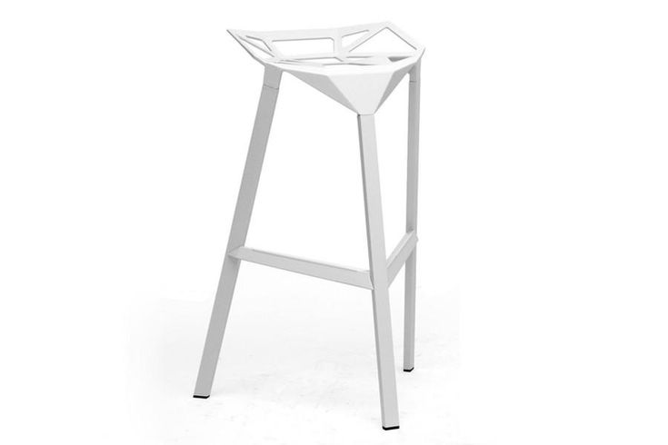 Baxton Studio Kaysa White Aluminum Modern Bar Stool - Set of 2