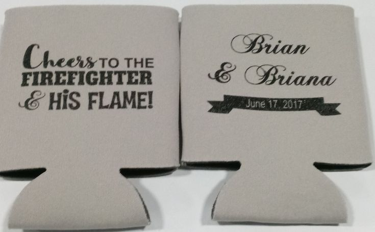 Firefighter Wedding Can Coolers personalized