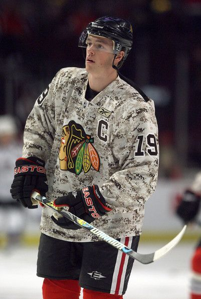 Johnny Toews number 19 of the Chicago Blackhawks, supporting our troops #Blackhawks